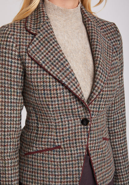 Piped Jacket in Houndstooth