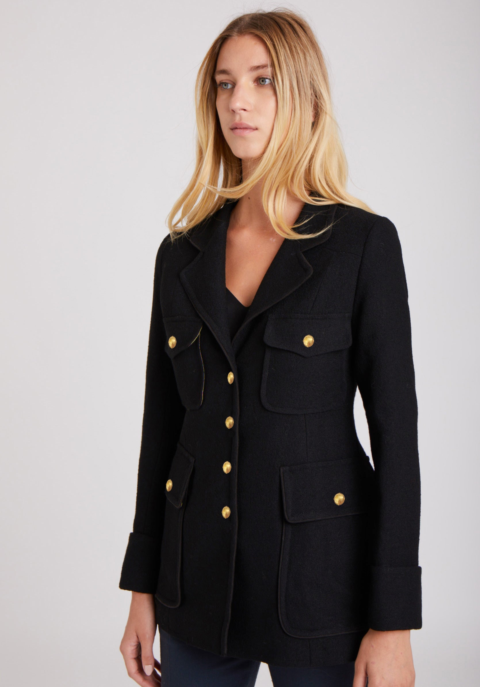 Westcott Jacket in Black Crepe Wool