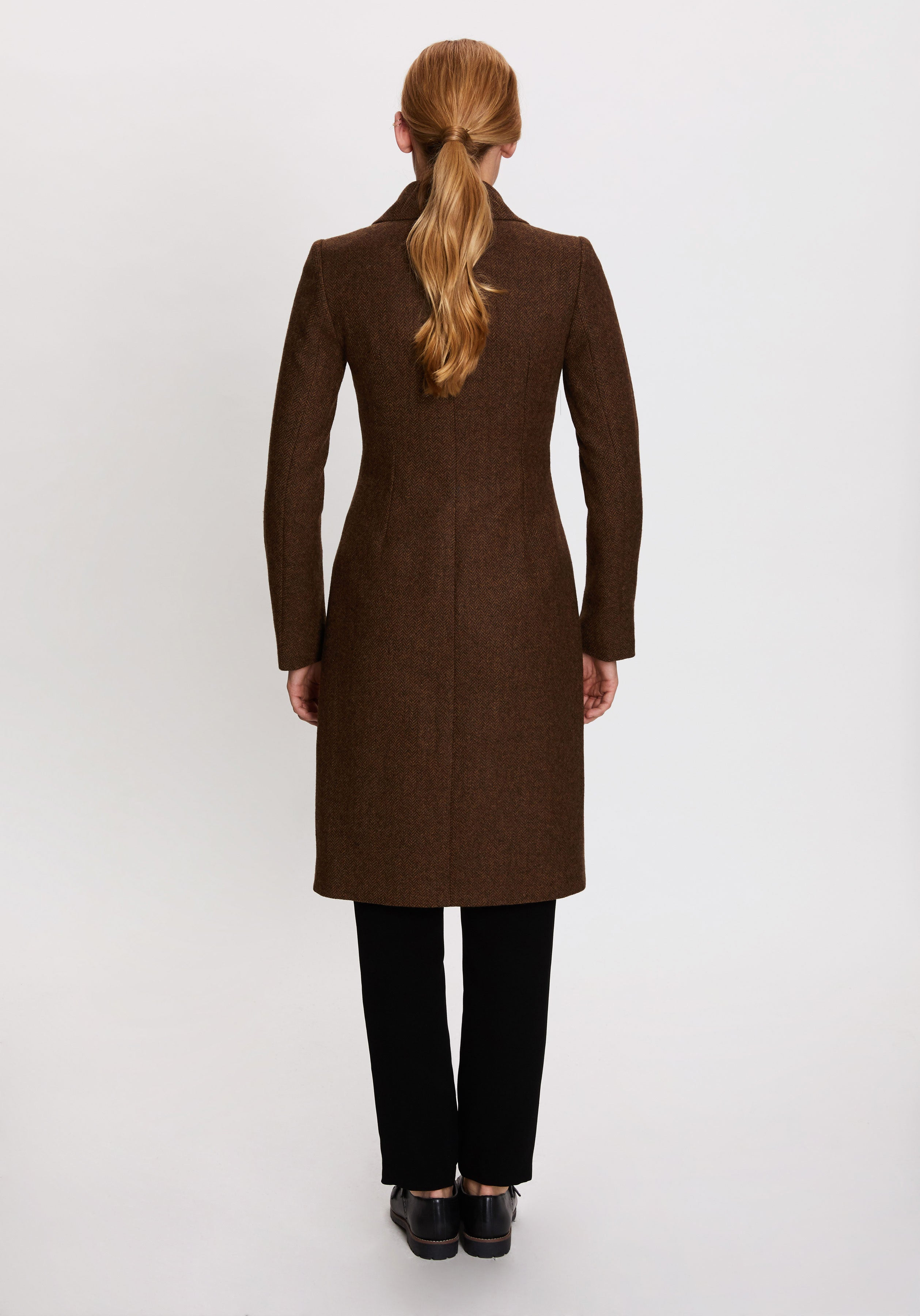 Alexander Coat in Rust Herringbone