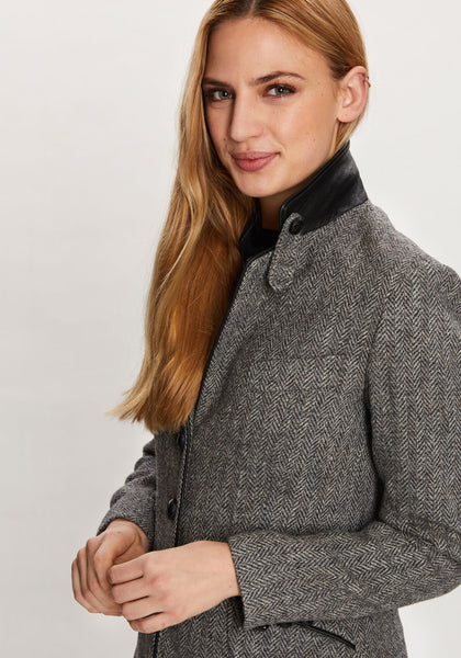 Cass Jacket in Black and White Herringbone