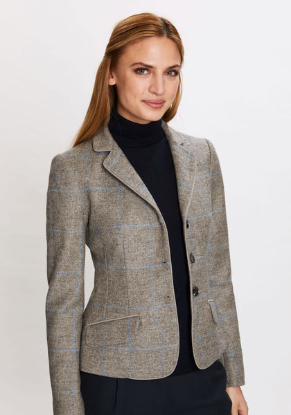 Daisy Jacket in Grey with Blue Check