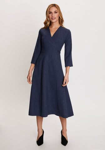 Sadie Dress in Silver Blue Georgia Print