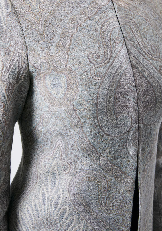 Pale blue paisley wool jacket