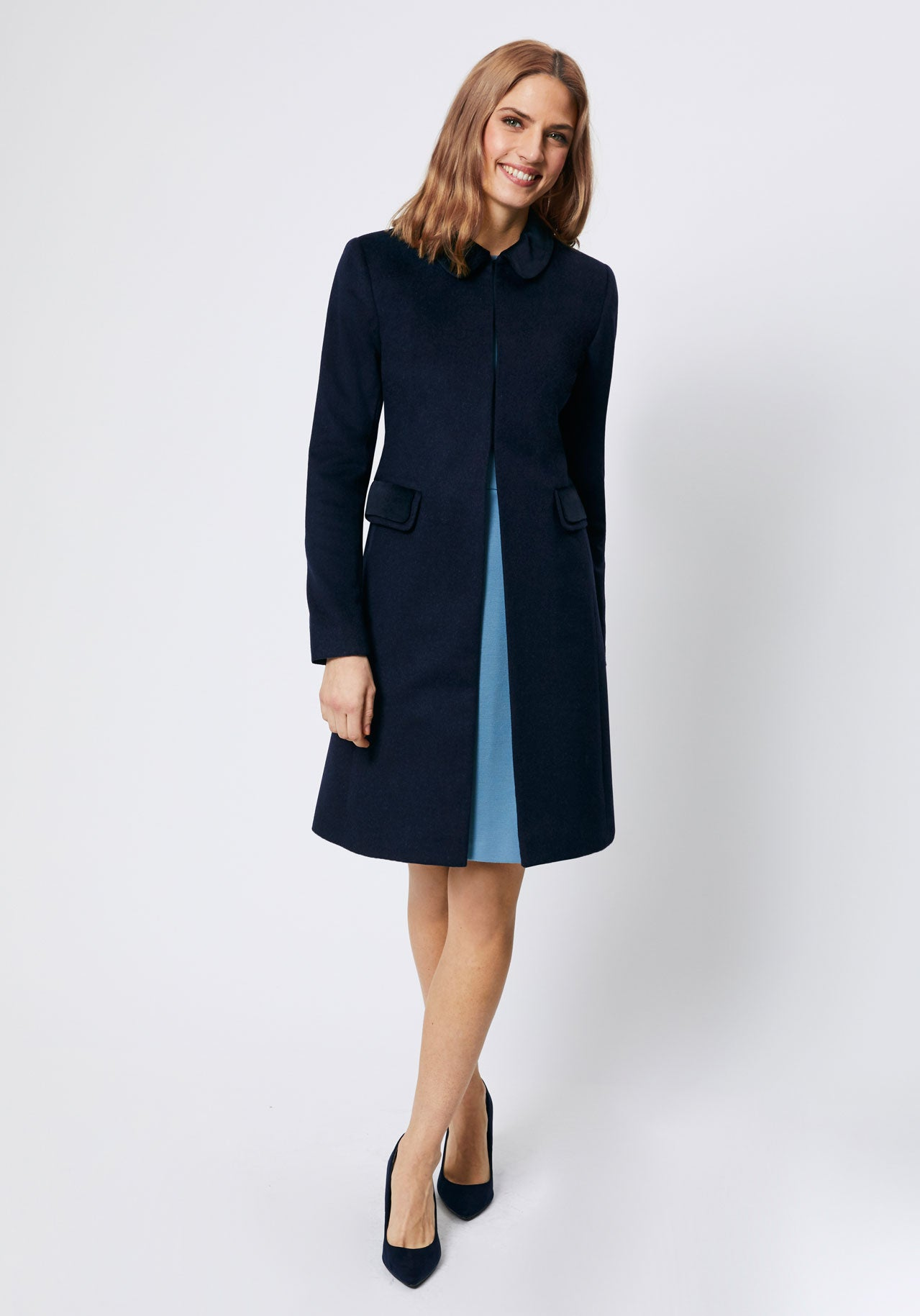 Navy cashmere blend occasion coat