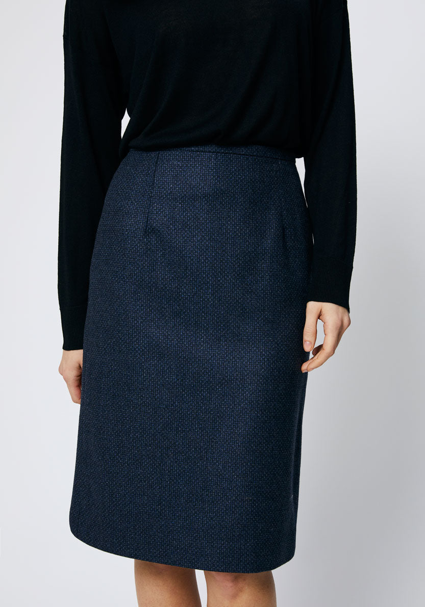 Pencil Skirt | Navy Pebble Wool