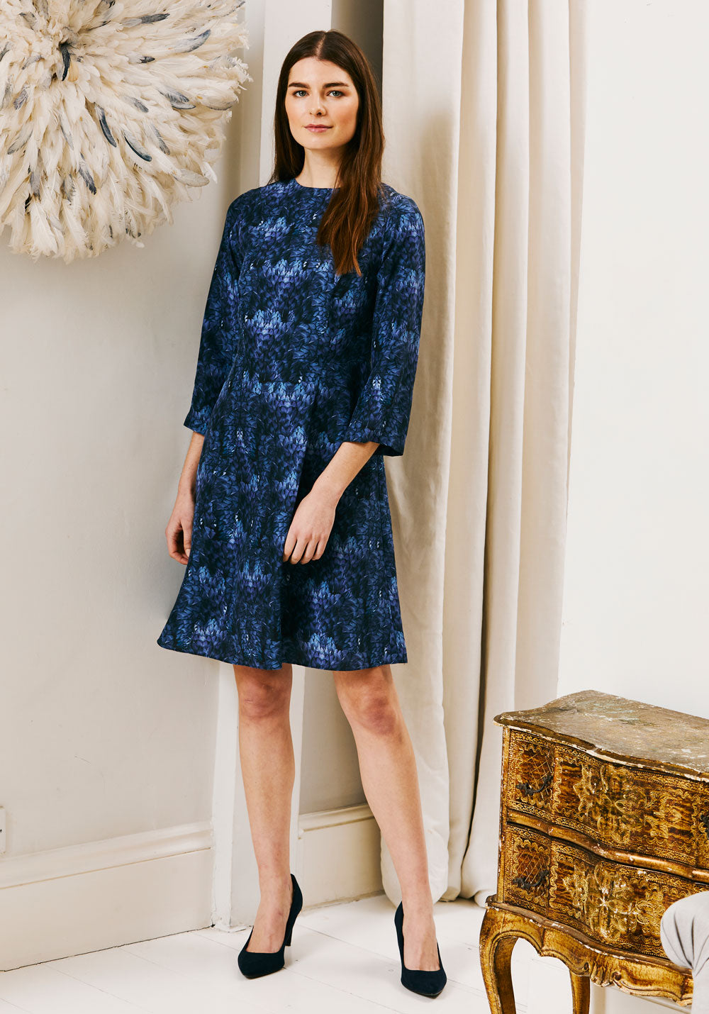 Stafford Dress | Blue Feather Print