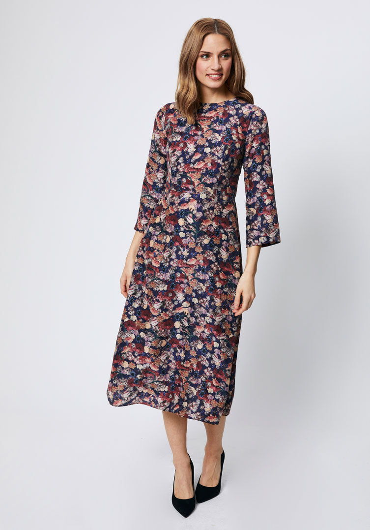 Autumn floral print midi dress