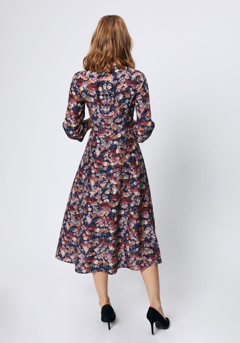 Autumn floral print midi dress back
