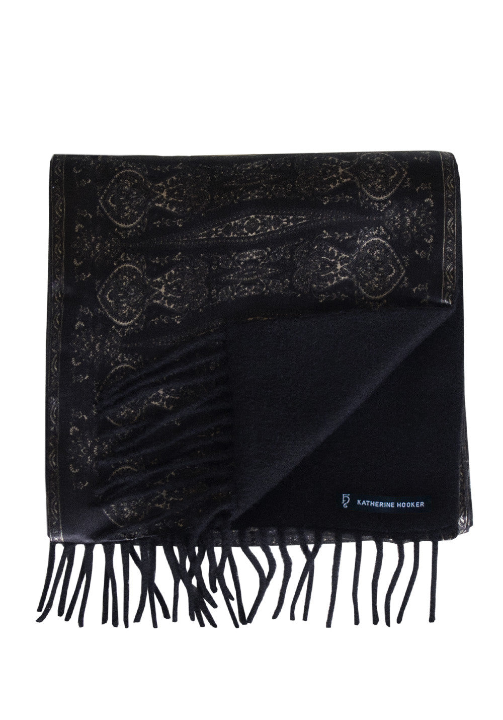Charcoal and Black Paisley Cashmere Scarf