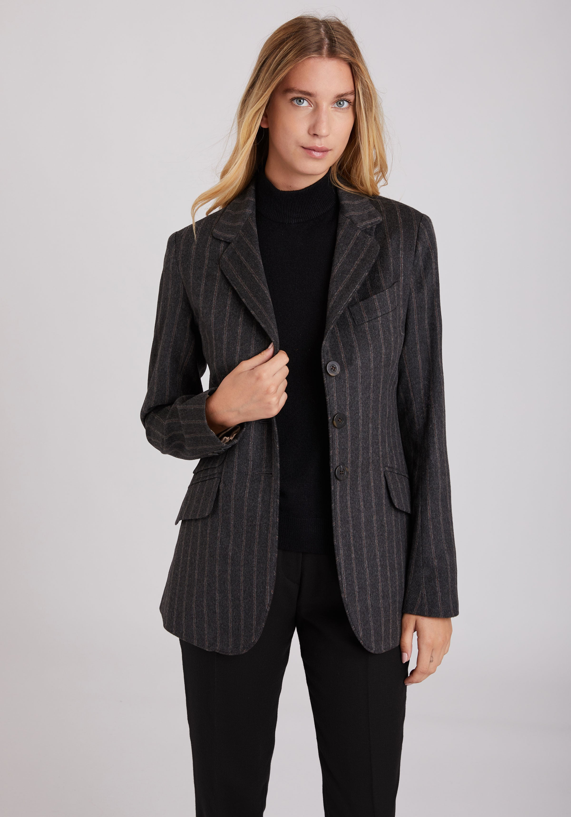 Cass Jacket in Grey Pinstripe