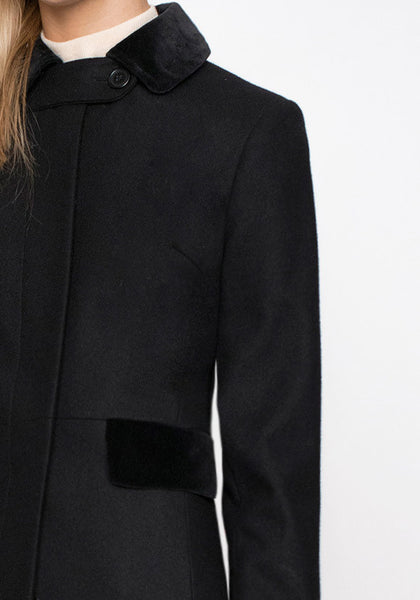 Contrast Coat in Black Wool