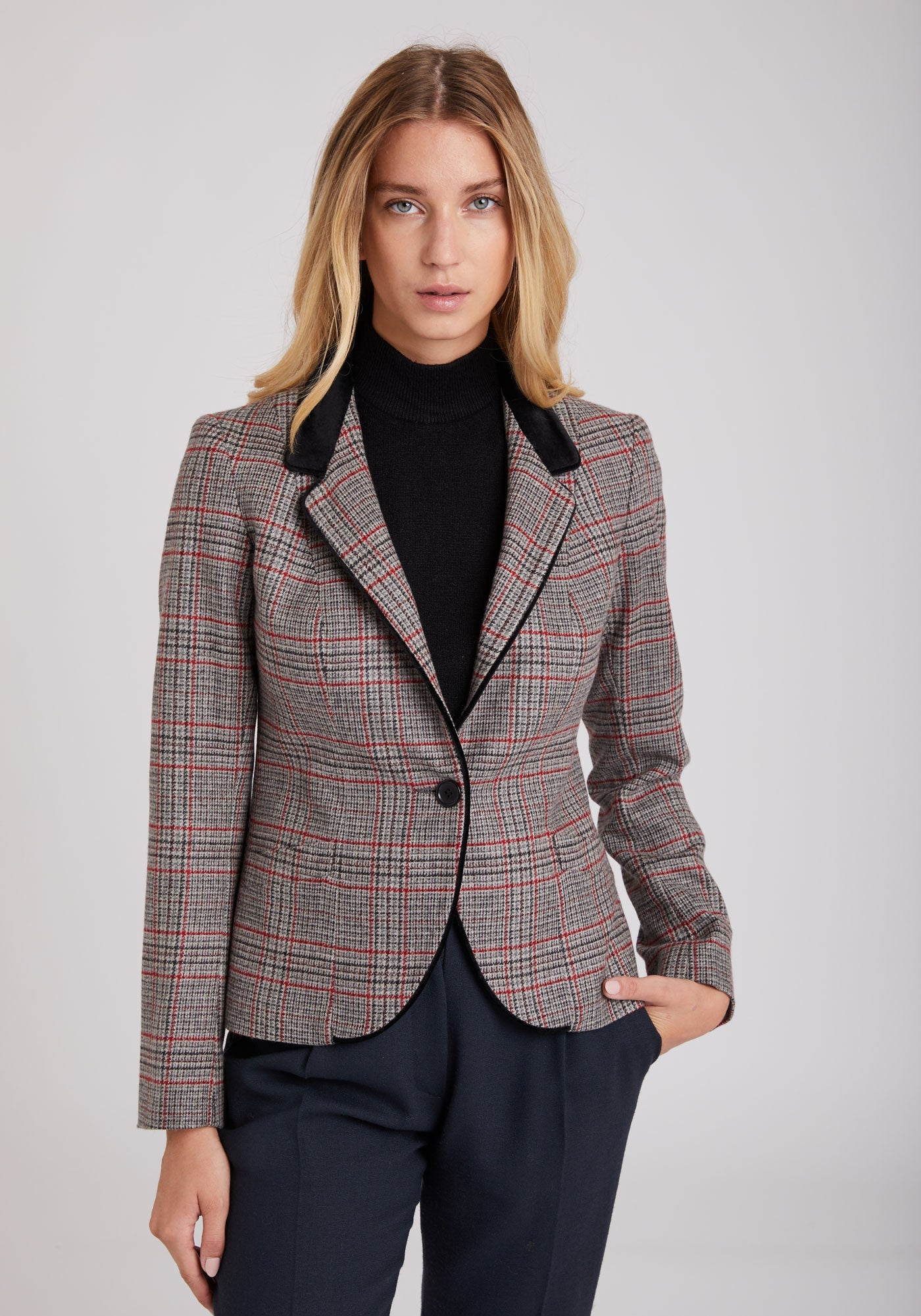 Tallulah Jacket in Grey & Red Check Cashmere