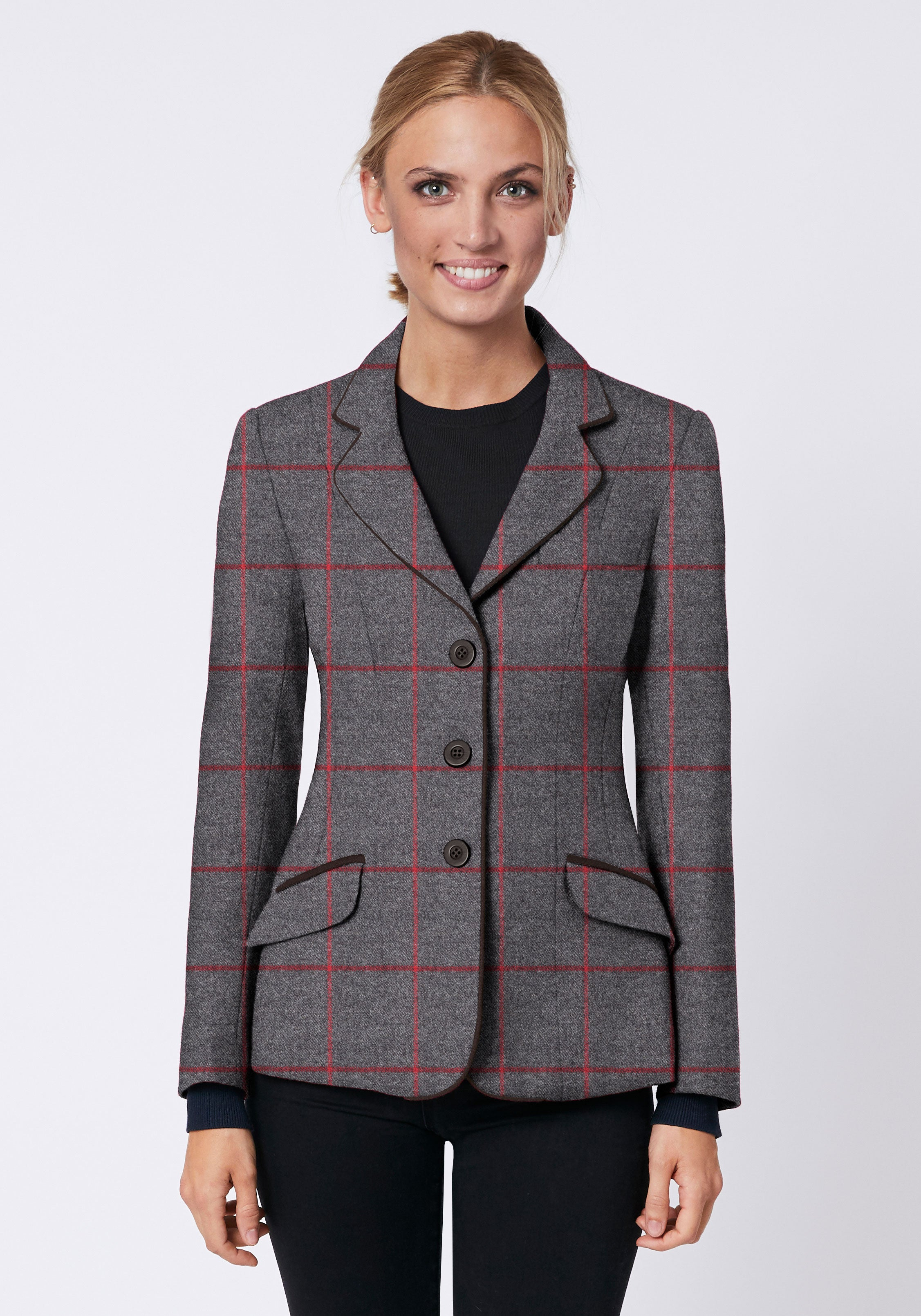 Hacking Jacket in Grey with Red Check