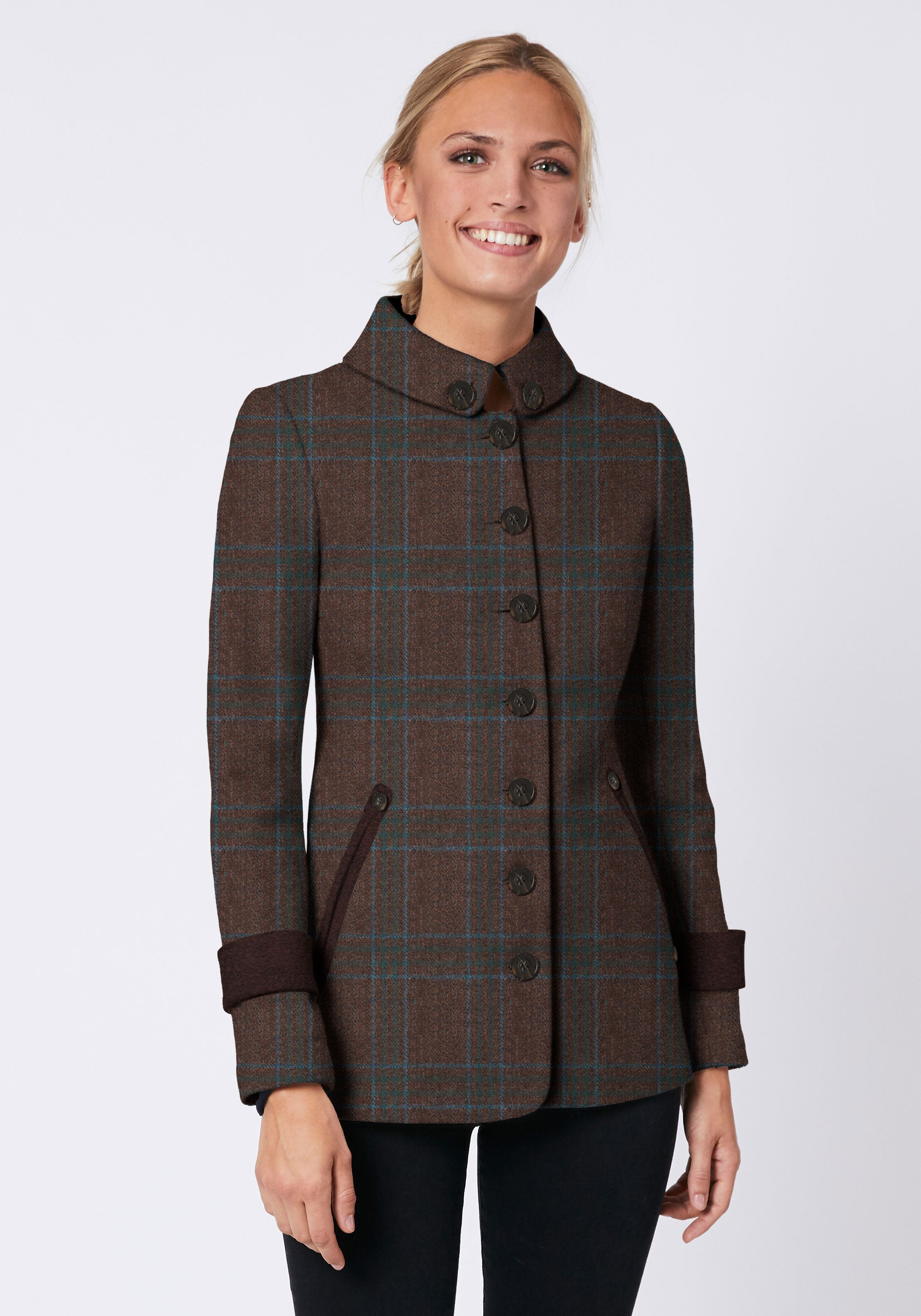 Hendre Jacket in Brown & Turquoise Check