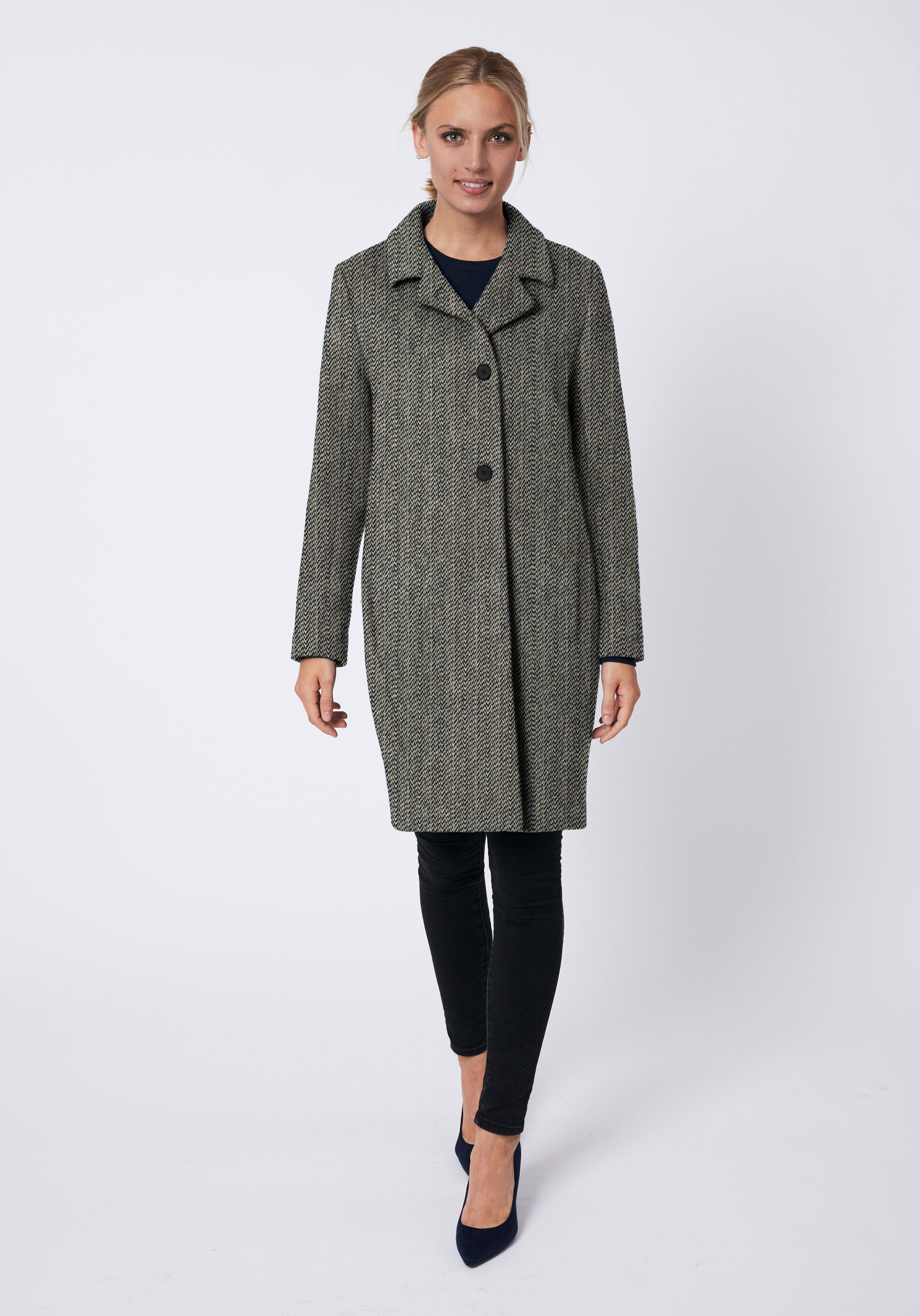 Jackson Coat in Black & Cream Broken Herringbone