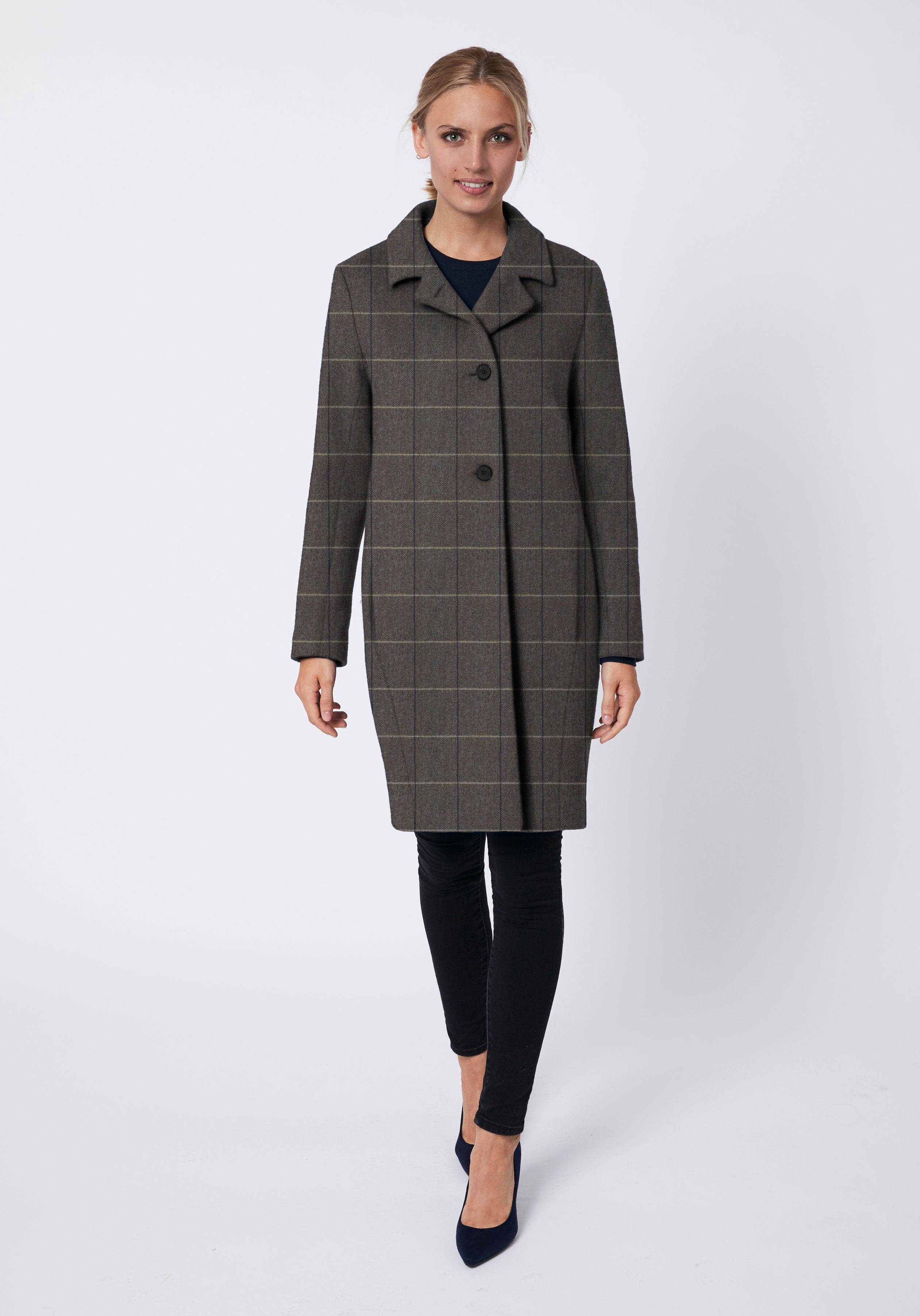 Jackson Coat in Taupe with Cream Check