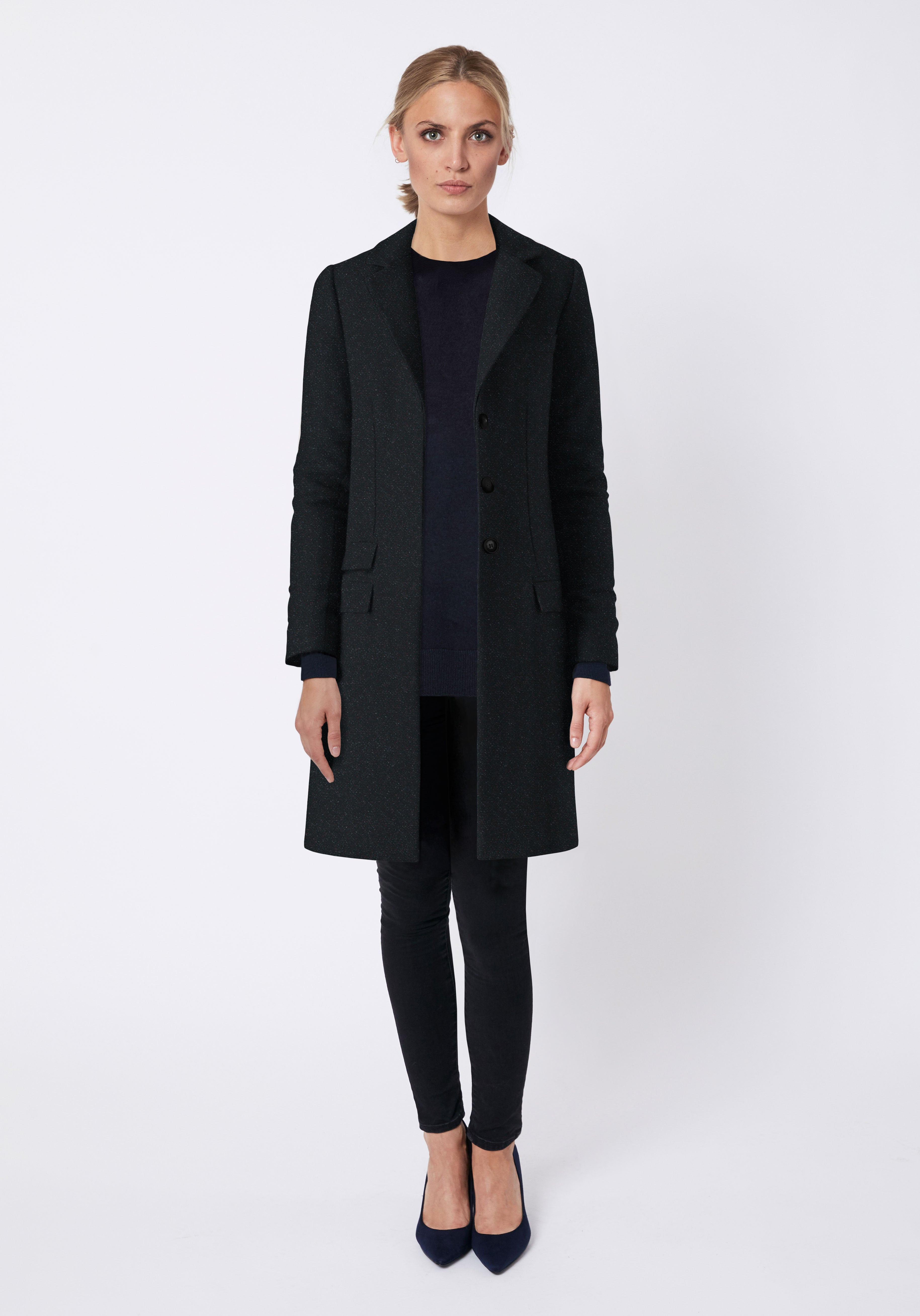 Nelson Coat in Black with Red Fleck