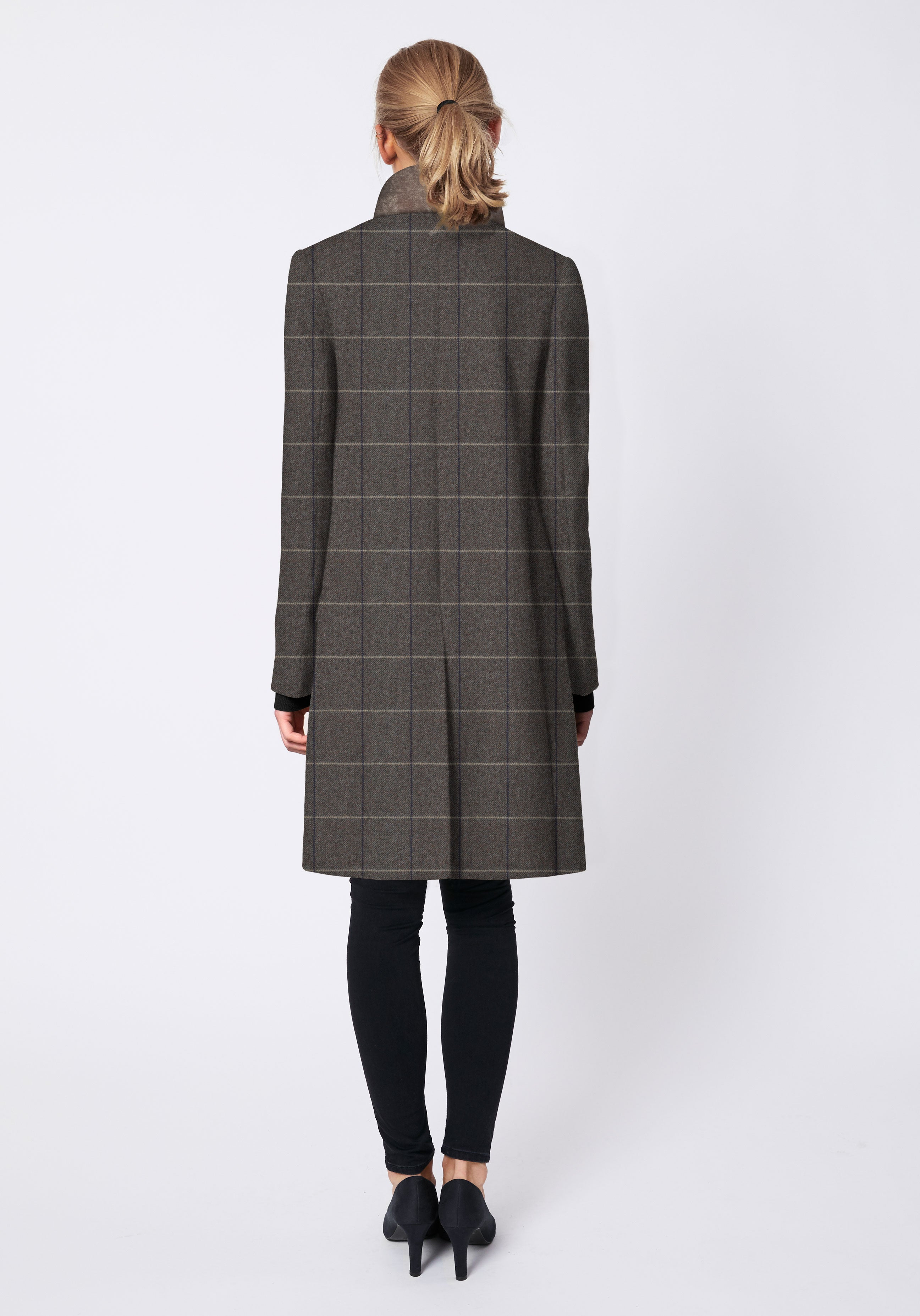 Nelson Coat in Taupe with Cream Check