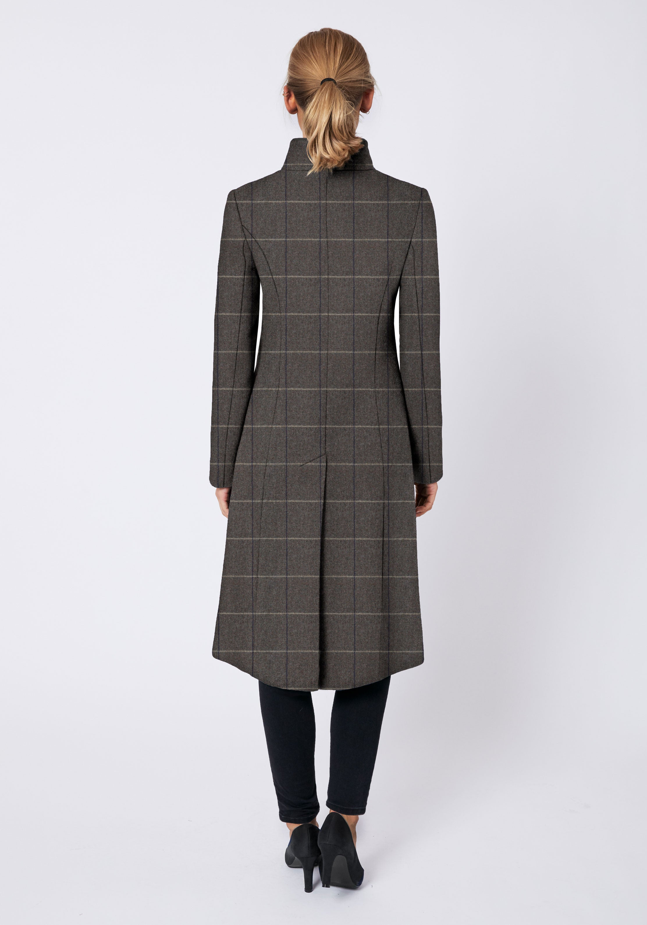 Opera Coat in Taupe with Cream Check