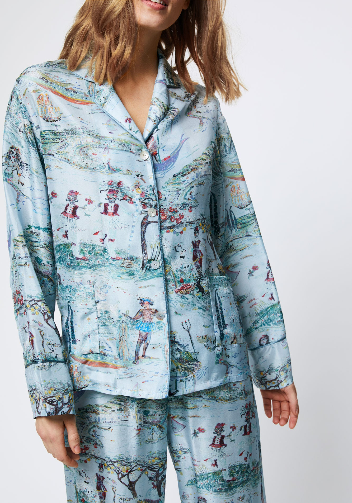 Blue Silk Pyjamas