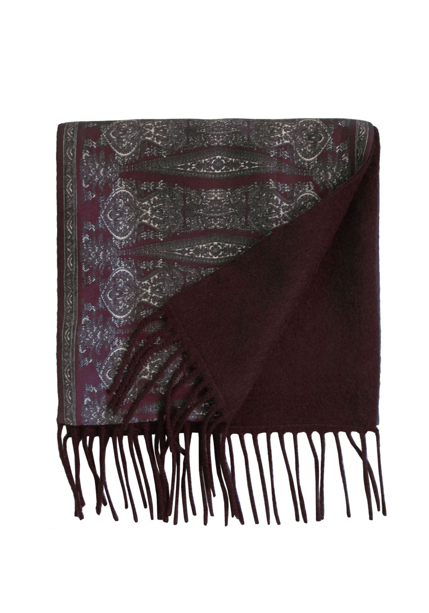 Burgundy Paisley Silk and Chocolate Cashmere Scarf