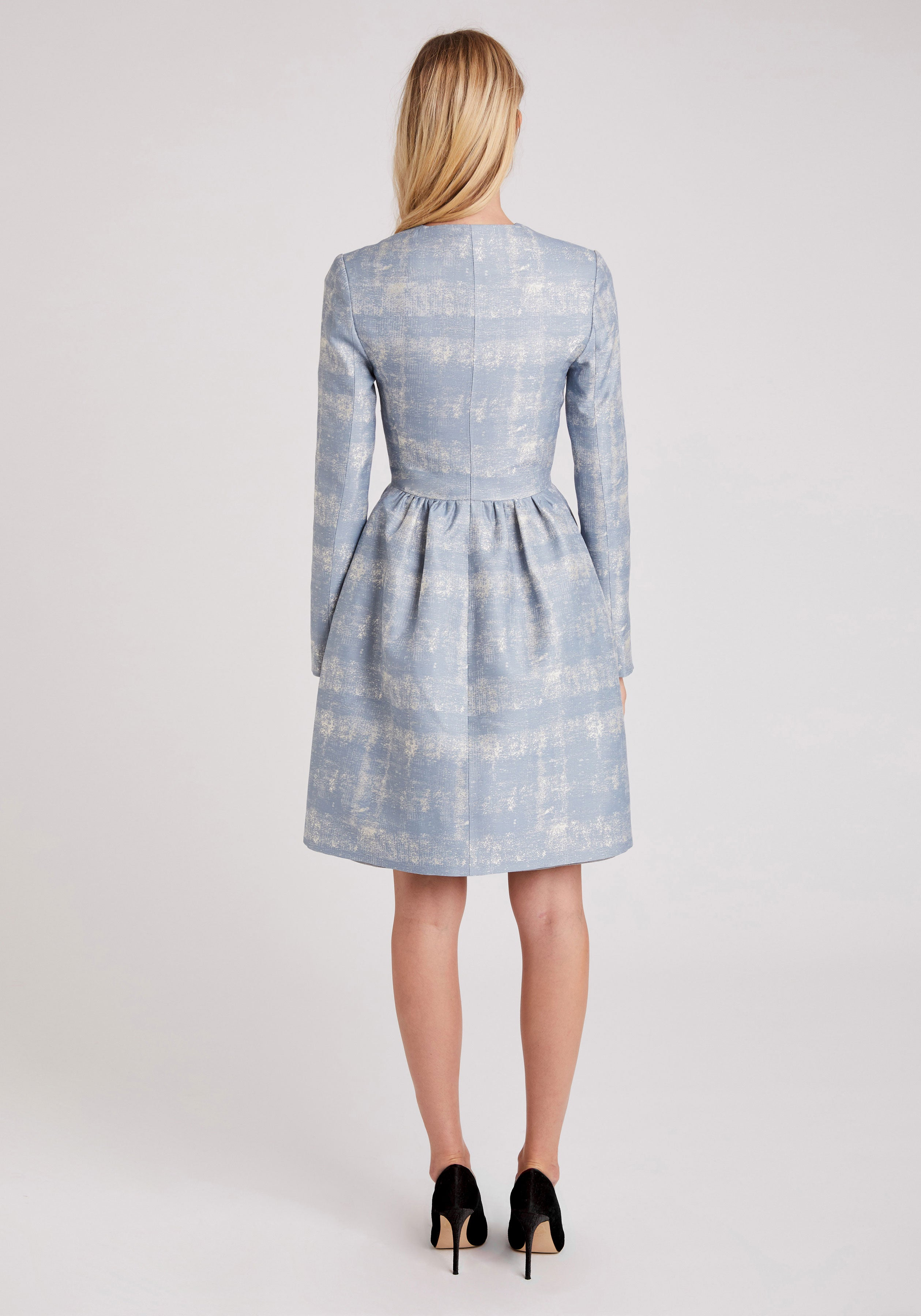 Skirted Coat in Pale Blue Silk Blend