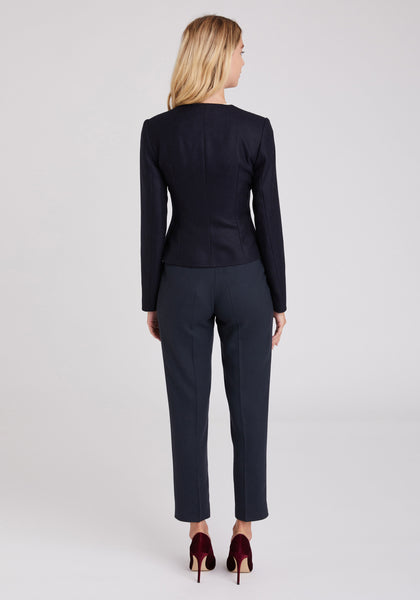 Sophia Jacket in Navy and Black Herringbone