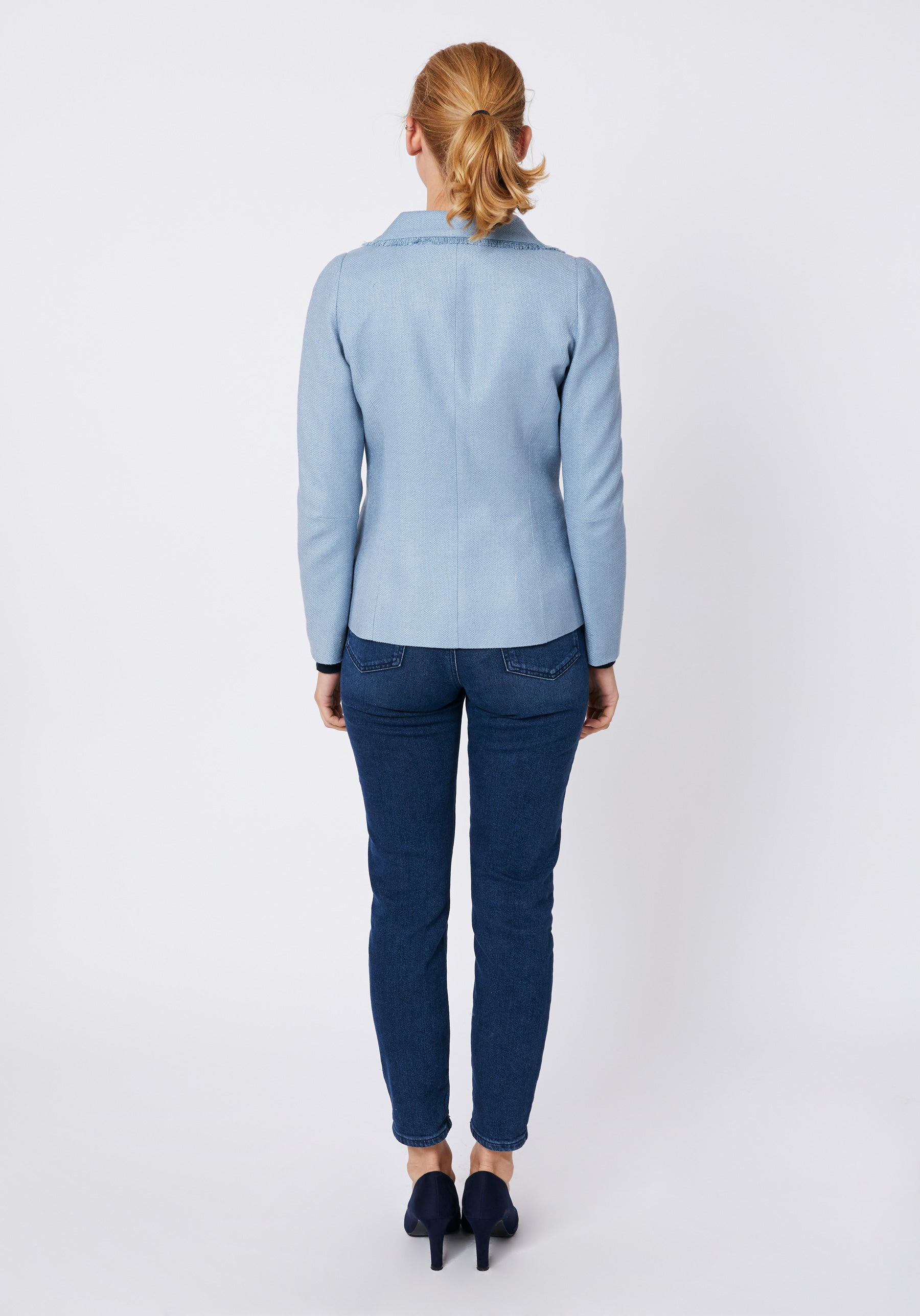 Morin Jacket in Blue Matka Silk