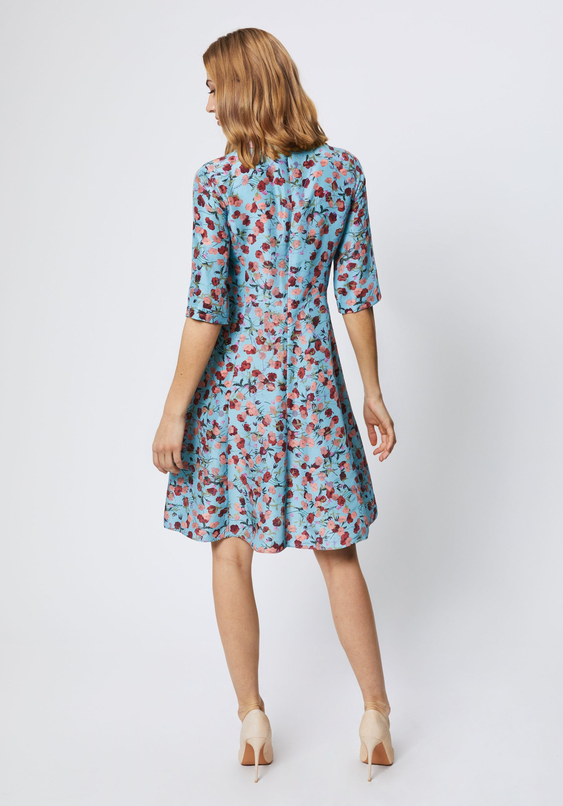 Stafford Dress in Coral Pablo Print Silk