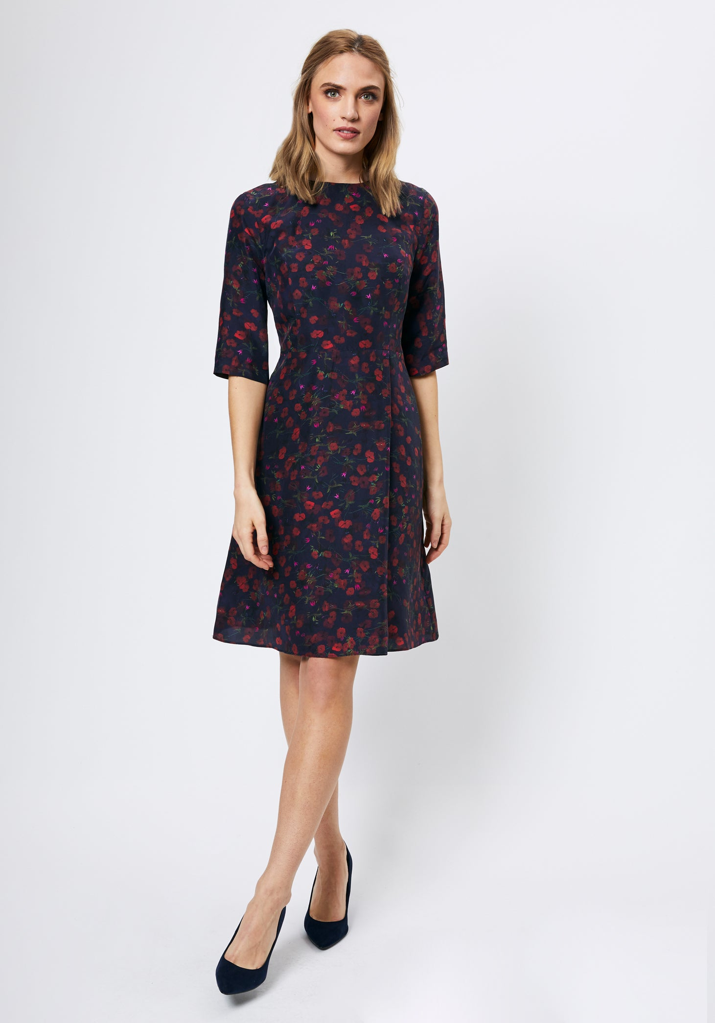 Stafford Dress in Navy Pablo Print
