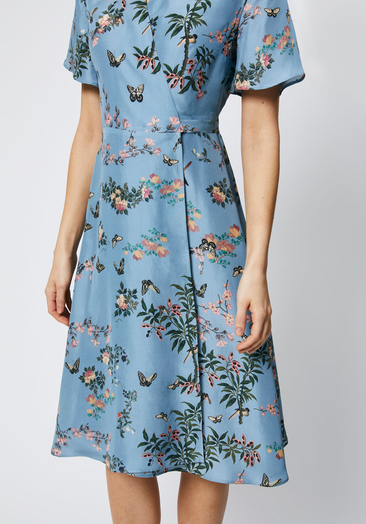 Symi Dress in Blue Floral Silk