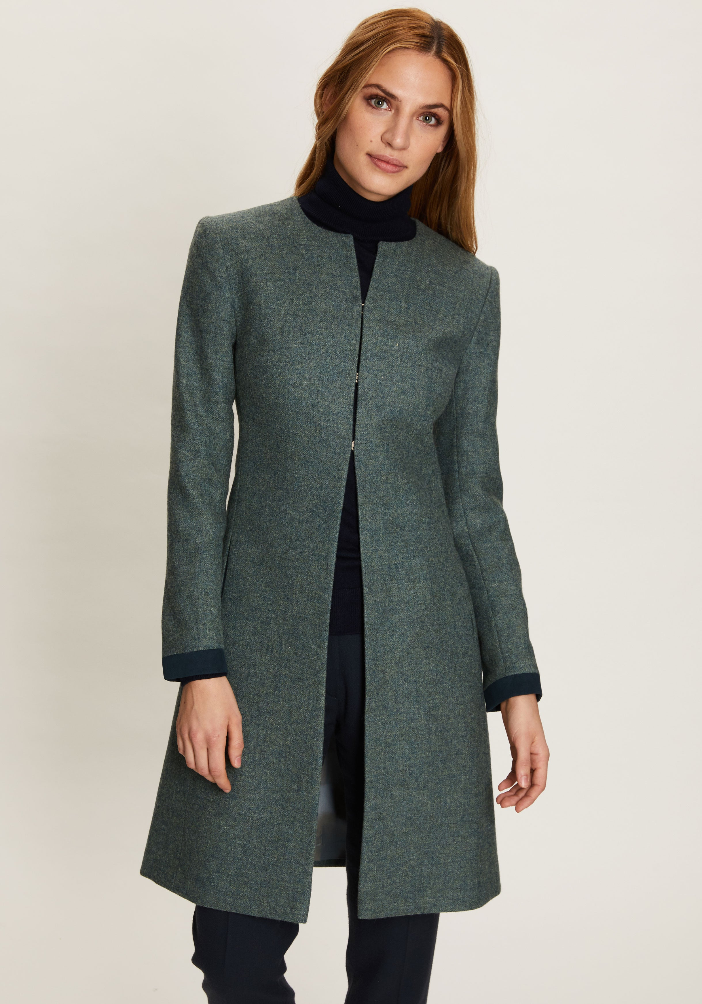 Tallulah Coat | Teal Herringbone