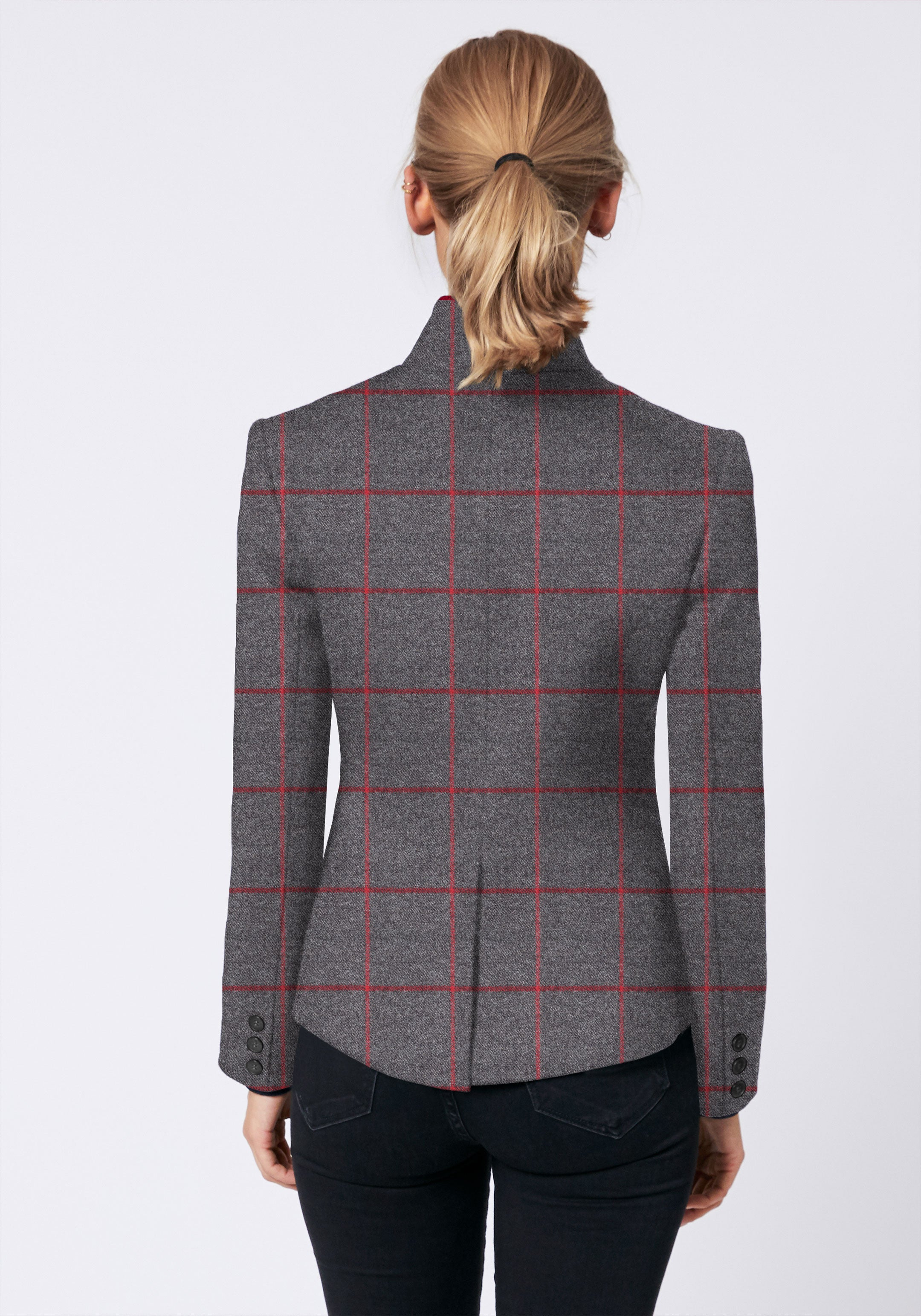 Tallulah Jacket in Grey and Red Check