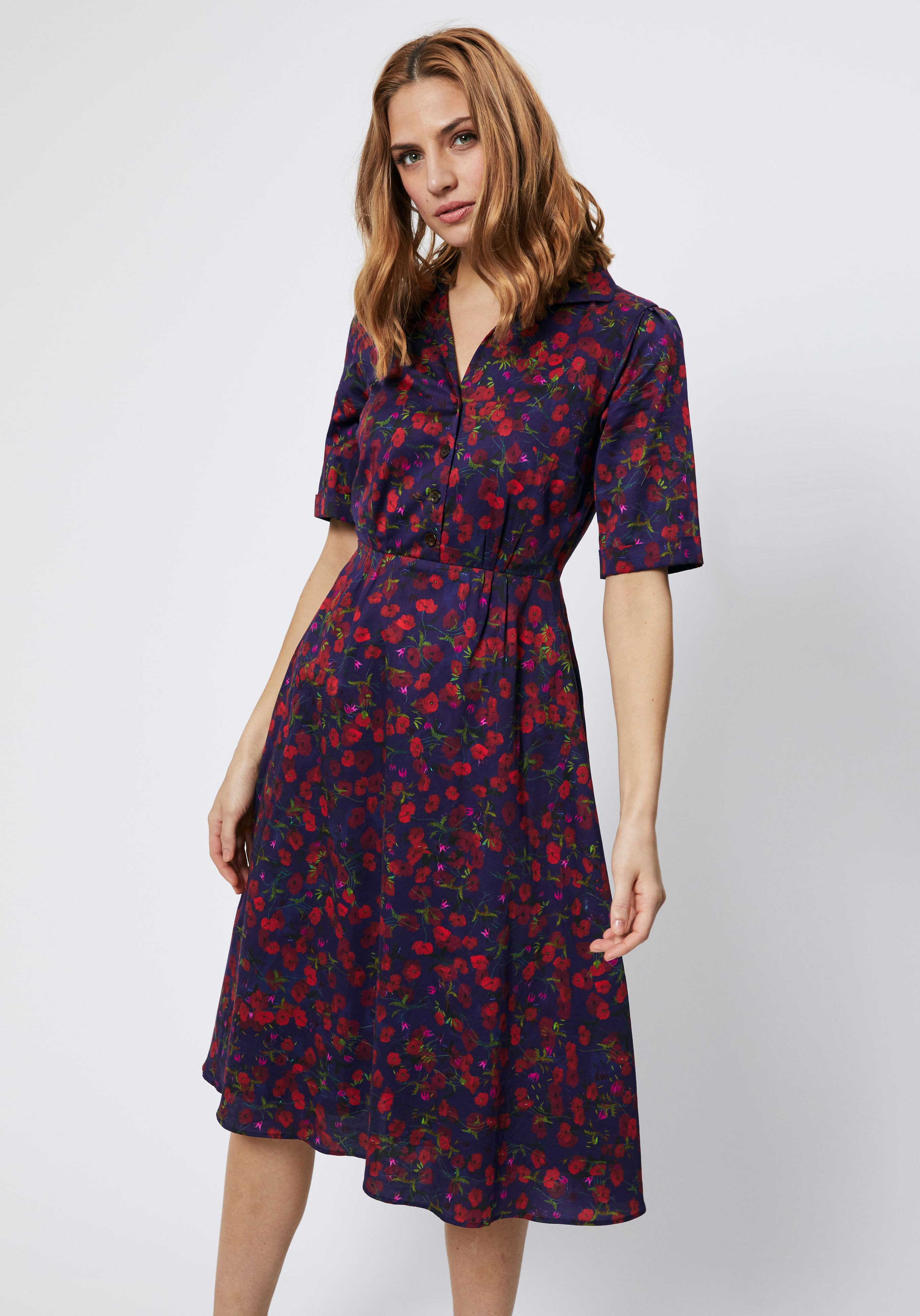 Tea Dress in Navy Pablo Print