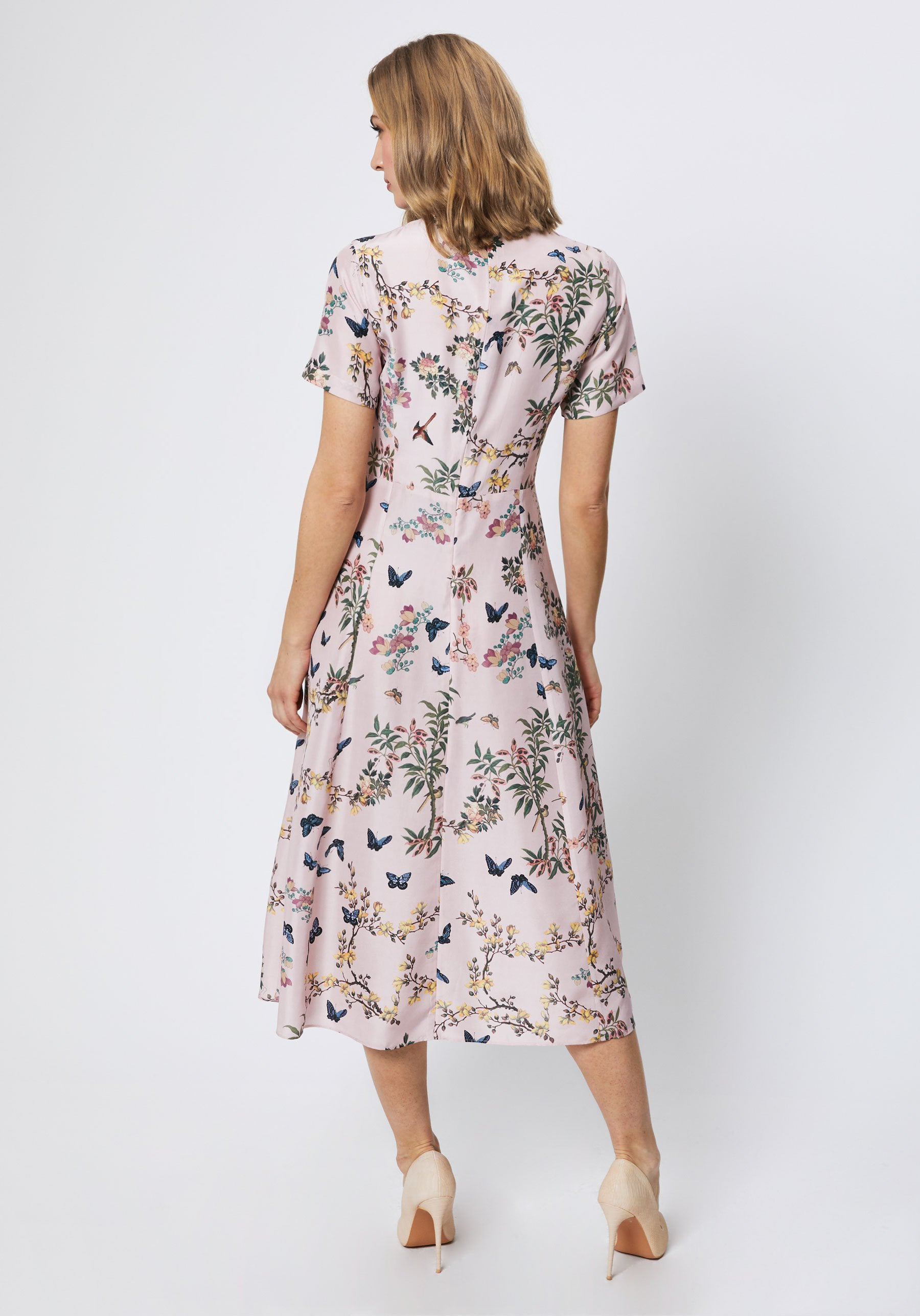 Tilly Dress in Pink Floral Silk