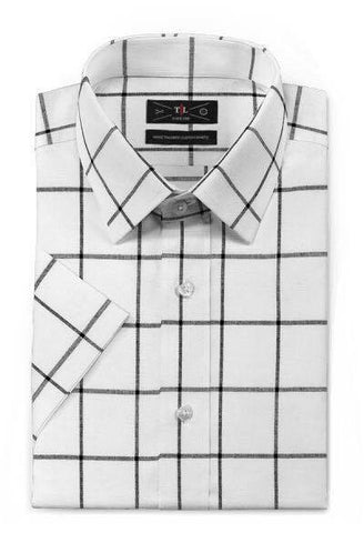 Royal Cotton -White Short sleeved checked shirt