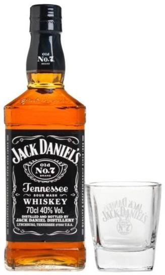 Jack Daniel's Black Label Old No.7 Bourbon Whiskey with Whiskey Glass