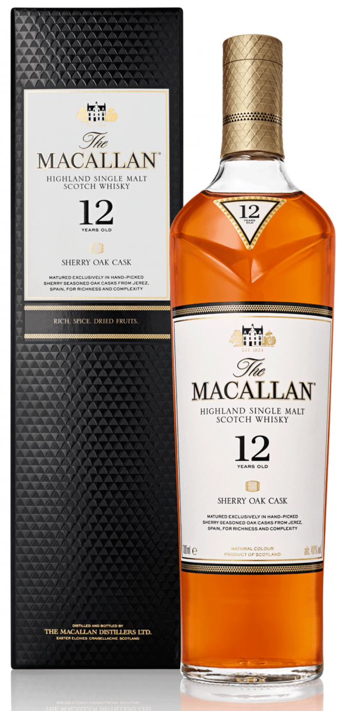 Macallan 12 Year Old Scotch Whisky Sherry Oak w/Box