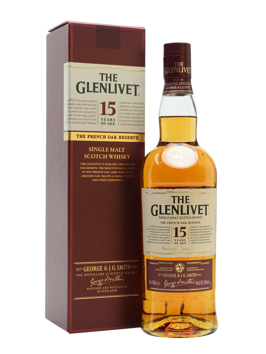 Glenlivet 15 Year Old French Oak Reserve Scotch Whisky w/Box