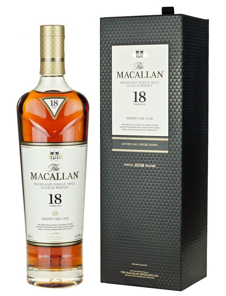 Macallan 18 Year Old Scotch Whisky Sherry Oak w/Box