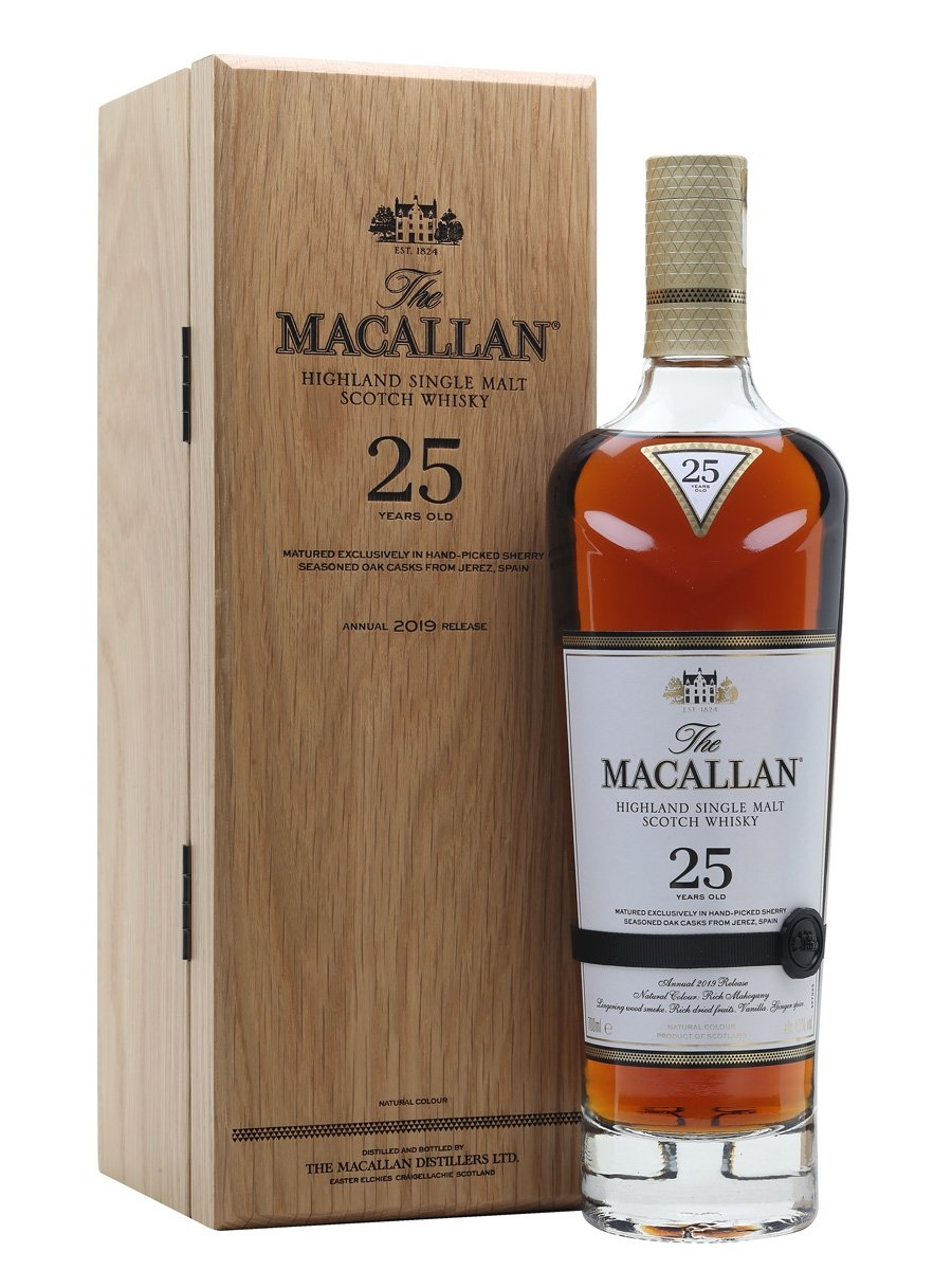 Macallan 25 Year Old Scotch Whisky Sherry Oak w/WoodBox