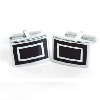 Boutons de manchette rectangle noirs chrome