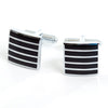 Cufflinks Black Chrome Stripes - Square