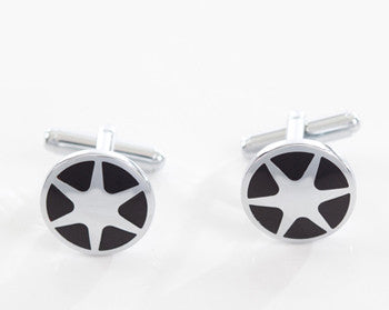 Cufflinks Chrome Star Black