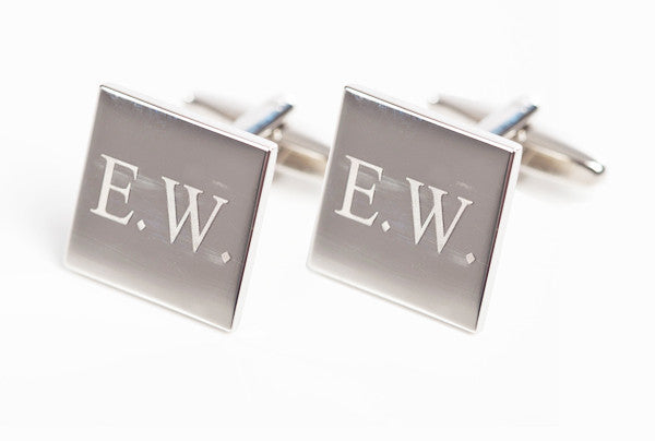 Set Of Silver Square Engraved Cufflinks