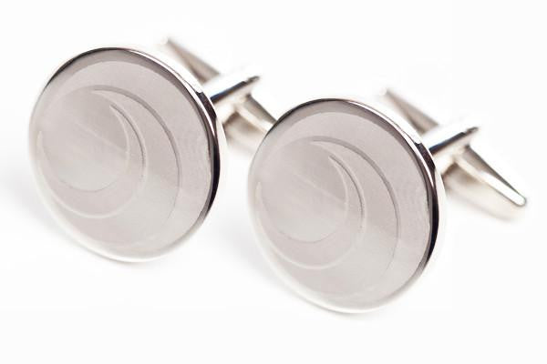 Cufflinks Round Smooth Silver Plated
