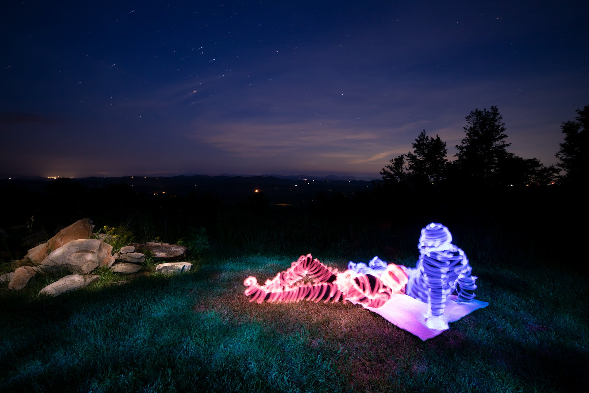 Light Painting a Picnic Under The Stars