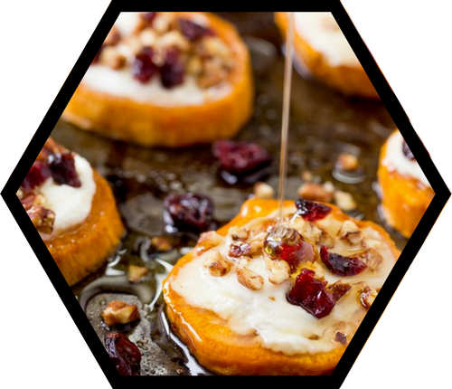 Sweet Potato Rounds with Goat Cheese & Honey