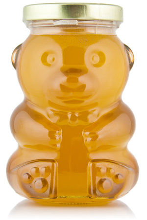 Case of Glass Liquid Raw Honey Bear (12 oz) - Stakich
