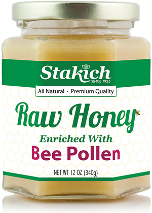 Case of Bee Pollen Enriched Raw Honey (12 oz) - Stakich